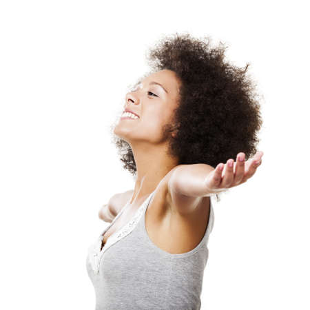 woman arms up: Beautiful african american with arms open, isolated on white background Stock Photo