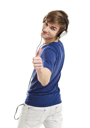 earphone: Portrait of a handsome young man listen music with headphones, isolated on white background