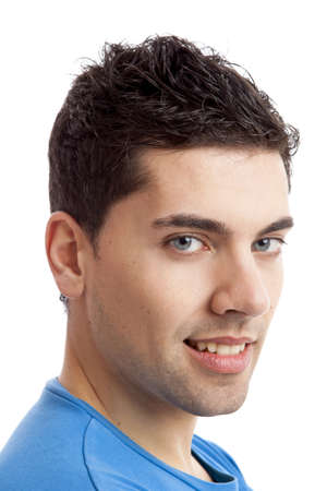man face close up: Portrait of handsome young man smiling, isolated on white background Stock Photo