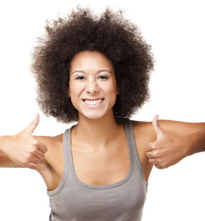 thumbsup: Happy Afro-American young woman isolated on white doing a thumbs-up signal with her hand Stock Photo