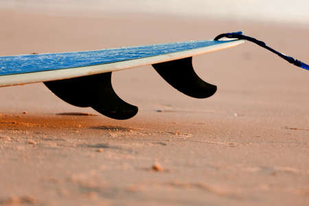 single fin: Tail of a surfboard on the sand with three fins