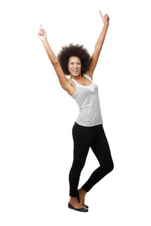arms in air: Happy african american woman isolated on white background