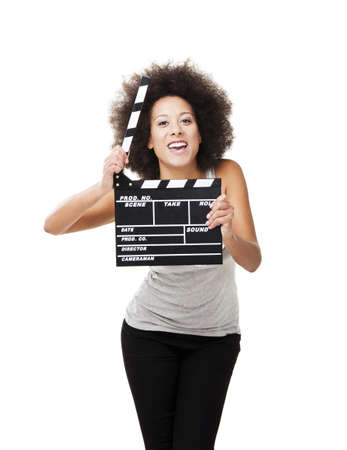 clapper board: Beautiful african american woman holding a clapboard, isolated on white