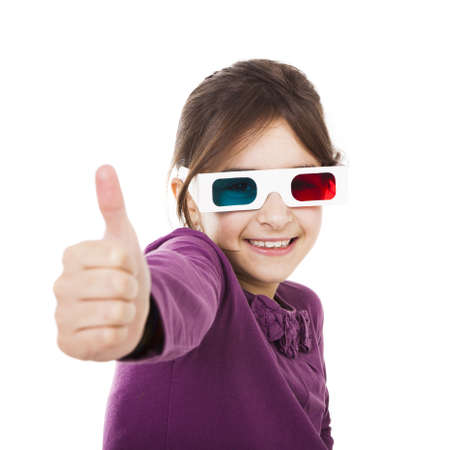 Beautiful little girl wearing 3d glasses, isolated over a white background photo