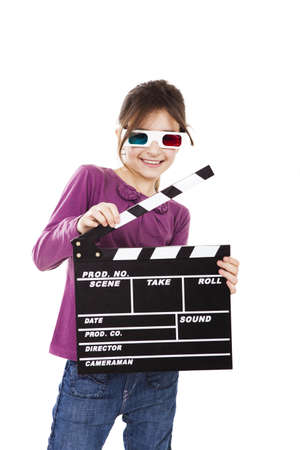 Beautiful little girl wearing 3d glasses and holding a clapboard, isolated over a white background Stock Photo - 15264712