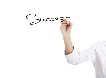 Young businesswoman woman drawing the word sucess photo