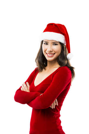 Beautiful asian woman wearing Santa's hat isolated on white Stock Photo - 16126415