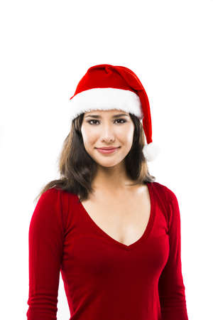 Beautiful asian woman wearing Santa's hat isolated on white Stock Photo - 17041448
