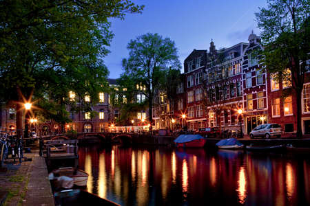 Beautiful night view of the channel in Amsterdam Stock Photo - 17227680