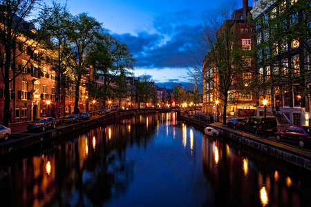 Beautiful night view of the channel in Amsterdam Stock Photo - 17227278