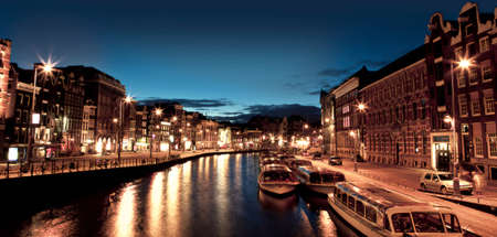 Beautiful night view of the channel in Amsterdam Stock Photo - 17227268