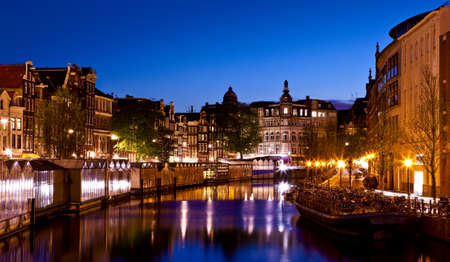 Beautiful night view of the channel in Amsterdam Stock Photo - 17227252