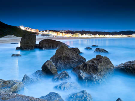 Beautiful night view from the small village Nazaré  in Portugal Stock Photo - 17227254