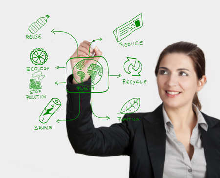 Beautiful woman drawing something about ecology, on glass board with a marker Stock Photo - 17221824