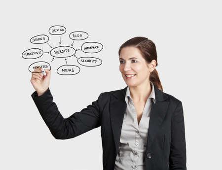 Beautiful woman drawing a diagram about websites, on glass board with a marker Stock Photo - 17221834