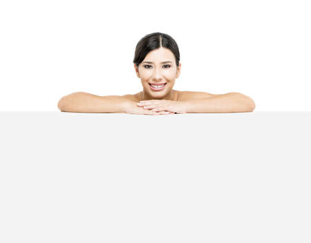 Beautiful Asian woman showing a blank billboard Stock Photo - 17903498