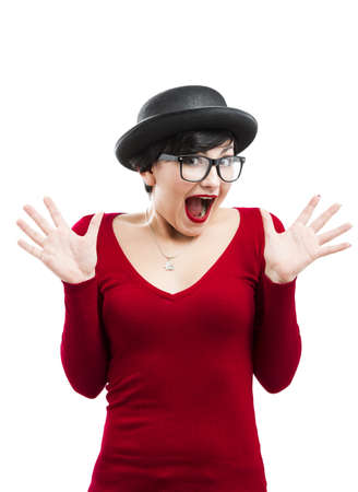 Beautiful happy girl wearing a hat and nerd glasses, isolated over white background Stock Photo - 17903512