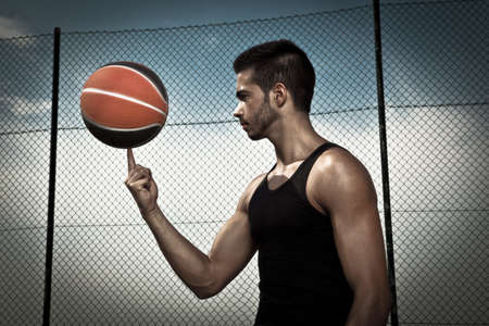 Portrait of young man street basket player Stock Photo - 18294084