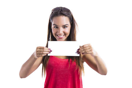 Happy woman holding a white billboard, isolated on white Stock Photo - 18293909