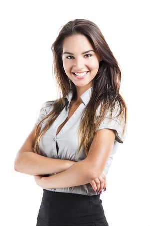 magabiztos: Gyönyörű üzletasszony összekulcsolt kézzel, mosolygós, elszigetelt, fehér, háttér