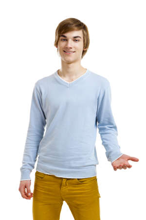 Happy and friendly young man isolated over a white background Stock Photo - 18971889