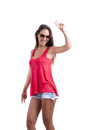 Happy woman with sunglasses, isolated over white background Stock Photo - 18971857
