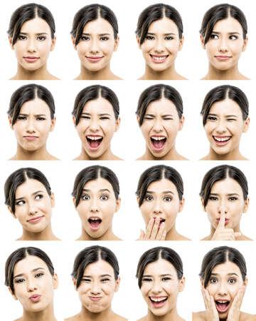 caras emociones: Múltiples retratos de una mujer bella asiática con diferentes expresiones Foto de archivo