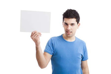Young guy holding a blank bill board isolated on white background Stock Photo - 19428410
