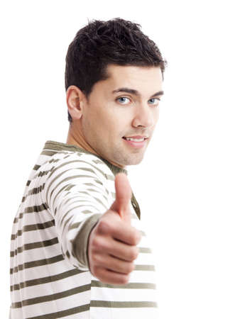 Handsome young man with thumbs up on an isolated white background  Stock Photo - 19428431