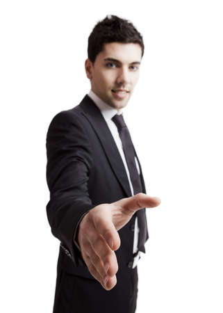 Young businessman giving handshake up isolated over a white background Stock Photo - 19428420