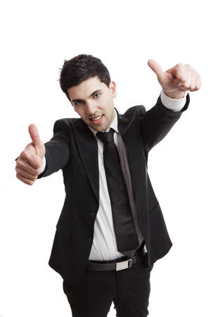 Young businessman with thumbs up isolated over a white background Stock Photo - 19428412