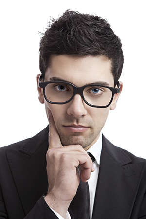Portrait of a young and fashion businessman with nerd glasses Stock Photo - 19428352