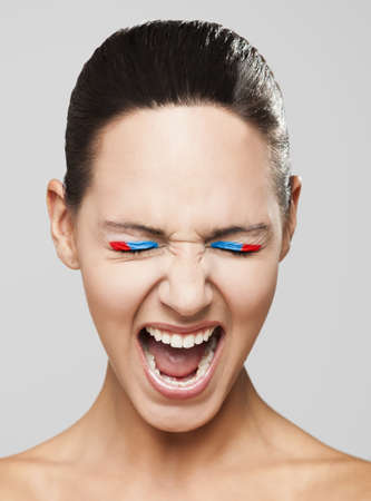 fashion portrait of a beautiful young woman shouting Stock Photo - 19428661