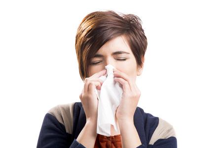 흰색 배경 위에 절연 독감와 여자의 초상화, 스톡 콘텐츠