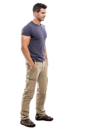 Stattlicher lateinischer Mann, isoliert über einem weißen Hintergrund Standard-Bild - 24840989