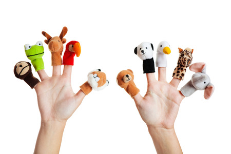 Female hand wearing 10 finger puppets; monkey, frog, reindeer, parrot; lion; bear; panda; duck; giraffe; elephant