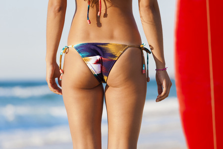 butt view of a sexy woman in bikini stock photo, picture and royalty