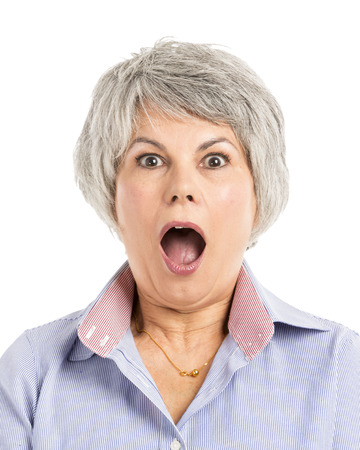 Portrait of a elderly woman with a astonished expression