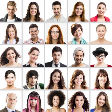 Collage van meerdere portretten van verschillende mensen