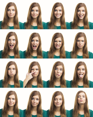 Multiple collage of a beautiful young woman with different expressions Archivio Fotografico