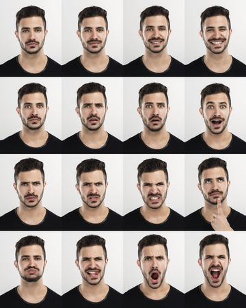 Composite of multiple portraits of the same man in different expressions Stockfoto