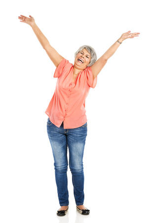 Happy elderly woman with arms open, isolated on white