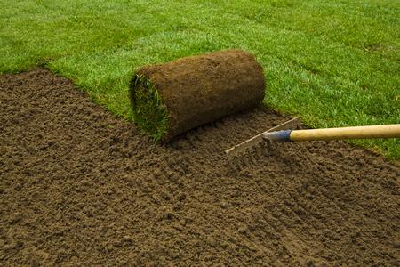 Tuinman het aanbrengen grasmat rollen in de achtertuin Stockfoto