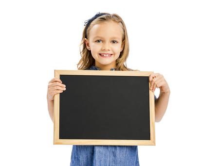 Schattig klein meisje met een bord, geïsoleerd op wit Stockfoto - 54309916