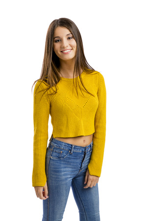 Portret van een mooie tiener meisje, geïsoleerd in een witte achtergrond Stockfoto