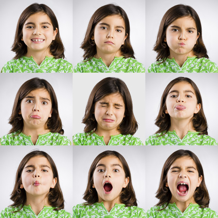 Multiple portraits of the same little girl making diferent expressions