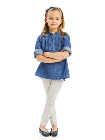 かわいいブロンドの女の子は、白い背景で隔離のスタジオ ポートレート 写真素材