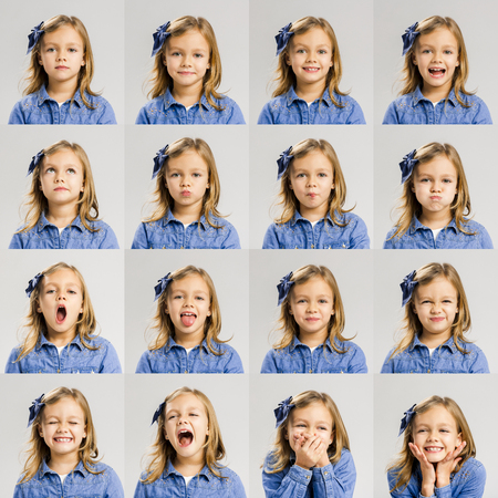 Multiple portraits of the same little girl making diferent expressions 版權商用圖片 - 54313563