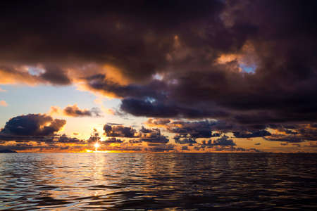 Beautiful sunset in Praslin, Seychelles