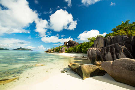 The beautiful Anse Source DArgent beach in La Digue Island, Seychelles